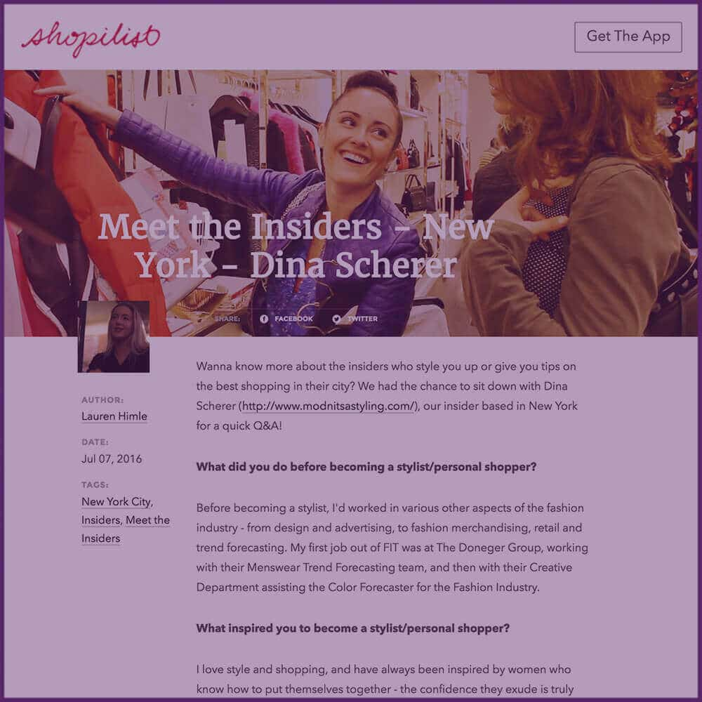 Shopilist Blog Stylist Profile Feature Article