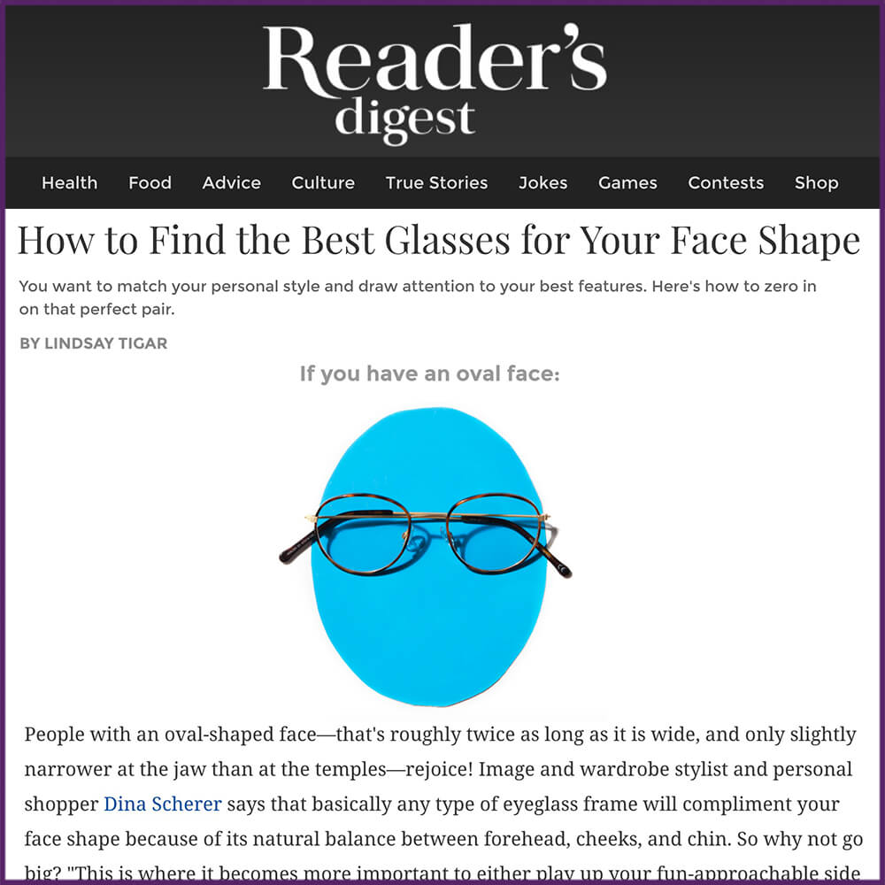 Readers Digest Best Glasses For Face Shape Article January 25 2017