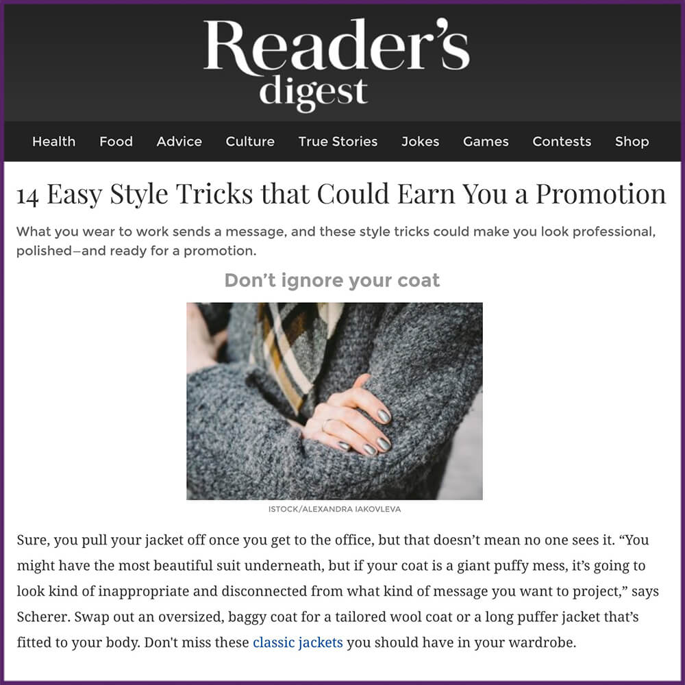 Readers Digest 14 Easy Style Tricks that Could Earn You a Promotion Article February 1 2017