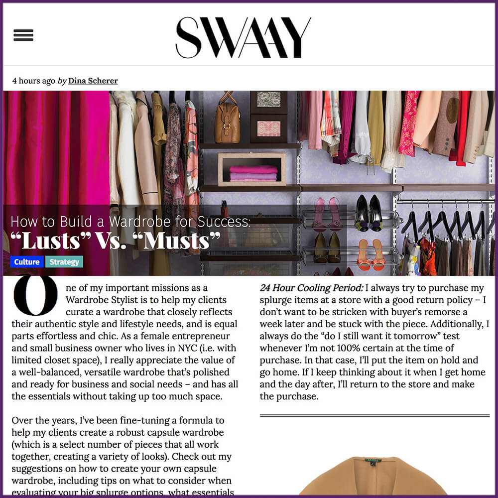 SwaayMedia Article How to Build a Wardrobe for Success Lusts Vs Musts February 2 2017