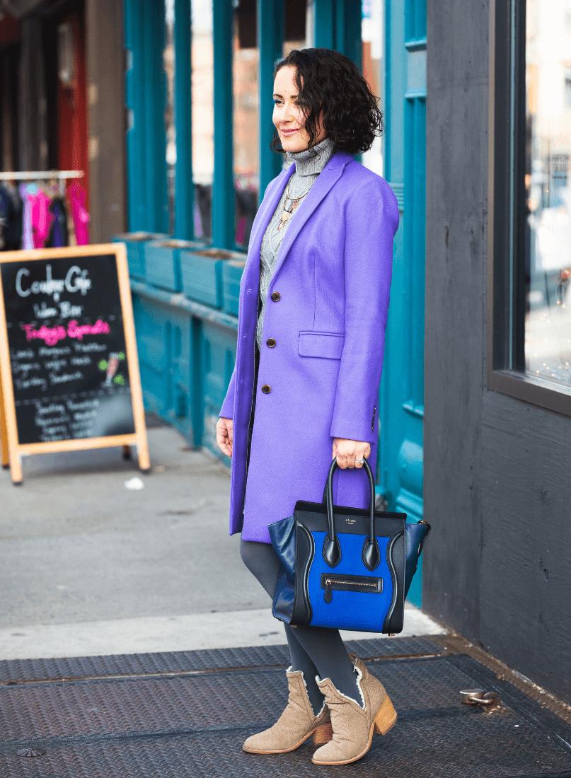 Purple J.Crew Coat_J.Crew Dress_Celine Bag_Jeffrey Campbell Booties
