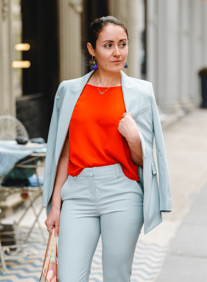 Theory Pant Suit for Spring by Modnitsa Styling