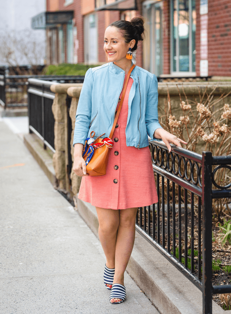 GMG Kathleen Dress Rebecca Taylor Jacket Tory Burch Slides by Modnitsa Styling