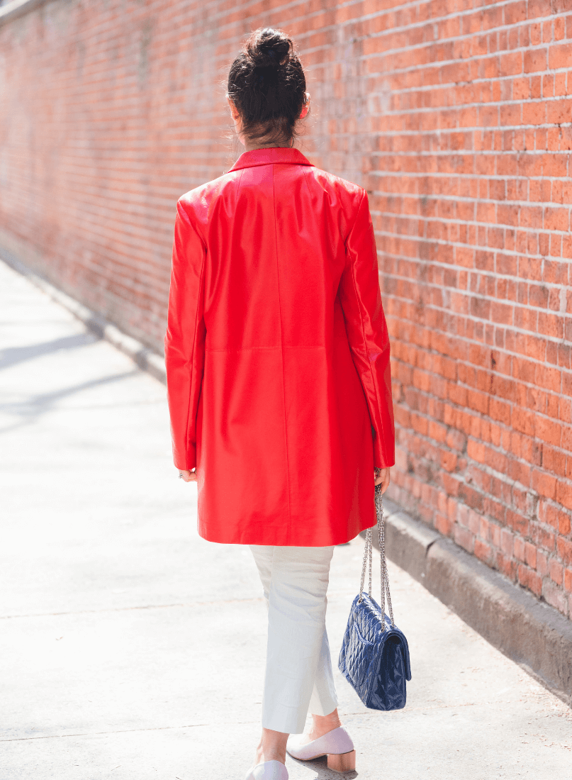 Red Theory Coat Theory Linen Pants Coclico Shoes by Modnitsa Styling
