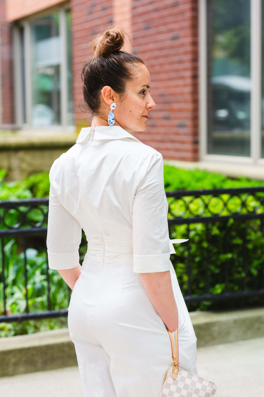 GMG White Jumpsuit Kingston Earrings LV Clutch Tory Burch Sandals Look by Modnitsa Styling