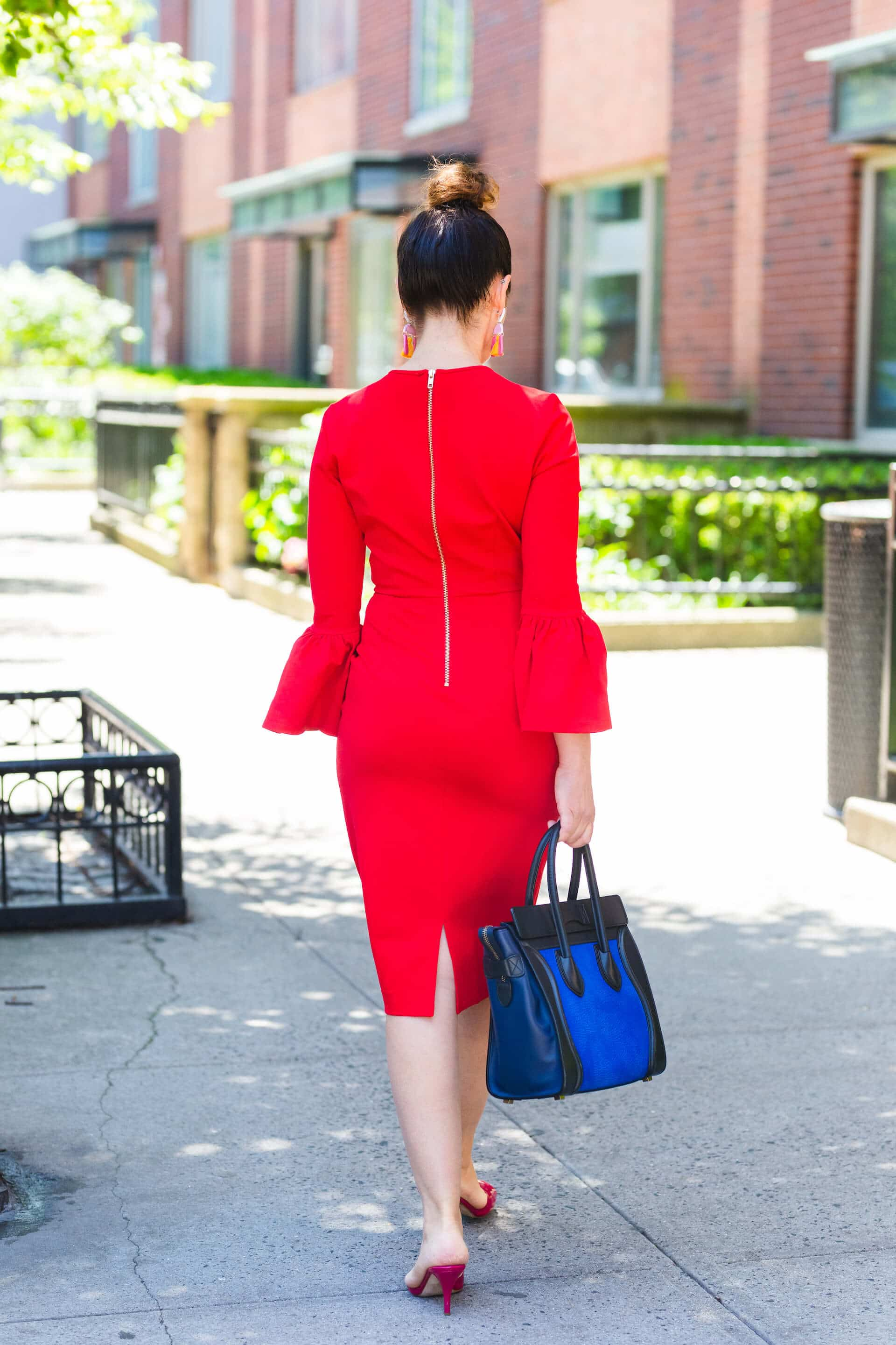 Rachel Parcell Red Sheath Kingston Earrings Jimmy Choo Shoes Look by Modnitsa Styling