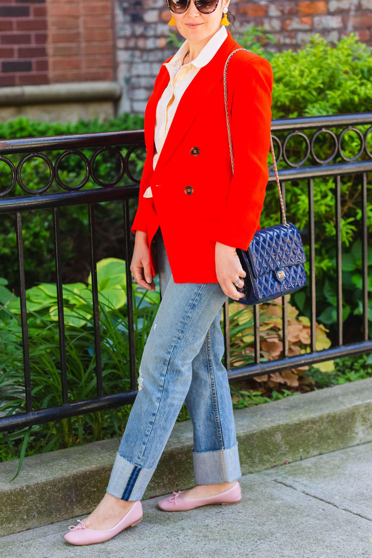 Veronica Beard Blazer Rag & Bone High Waisted Jeans Look by Modnitsa Styling