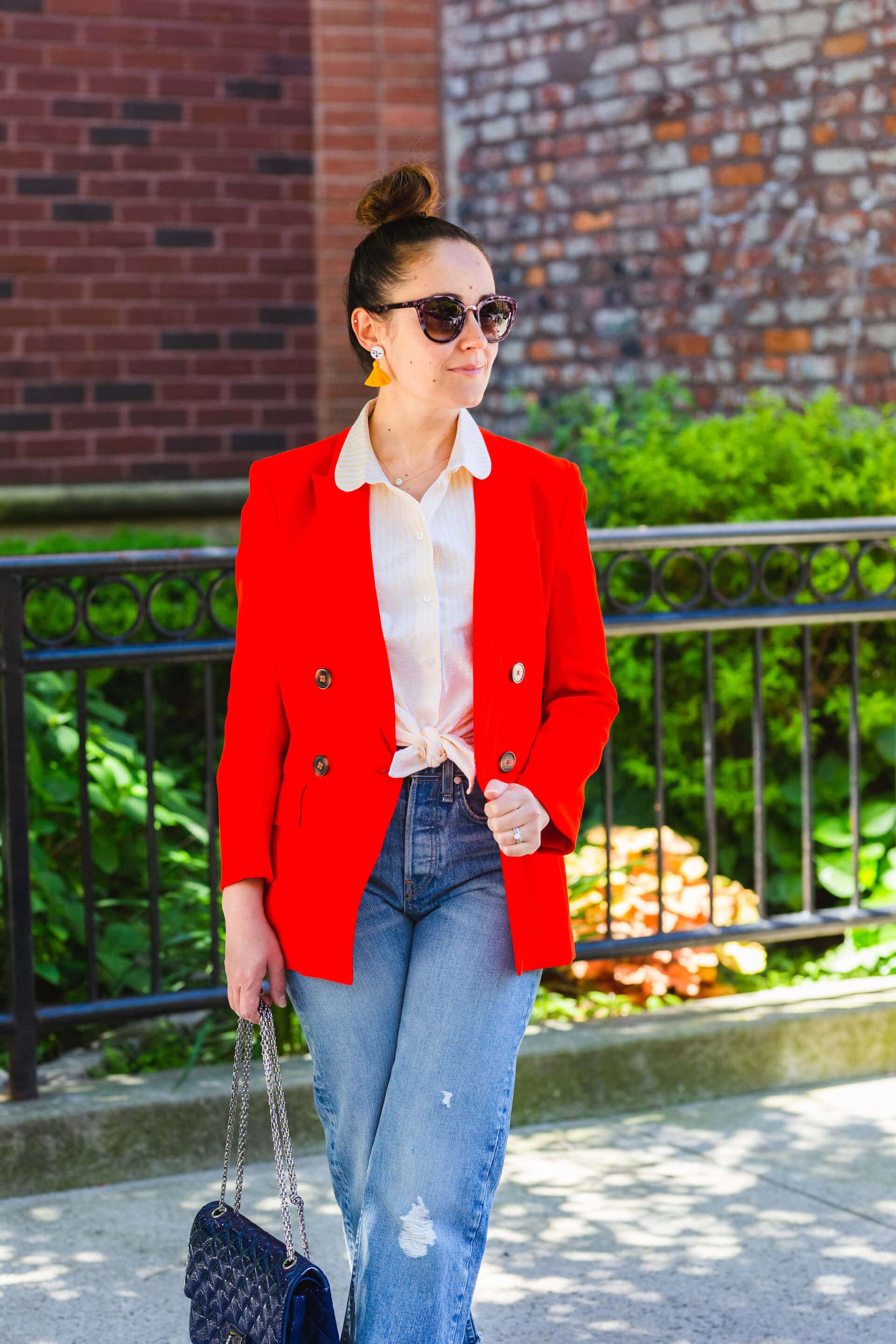 Veronica Beard Blazer Rag & Bone High Waisted Jeans Look by Modnitsa Styling