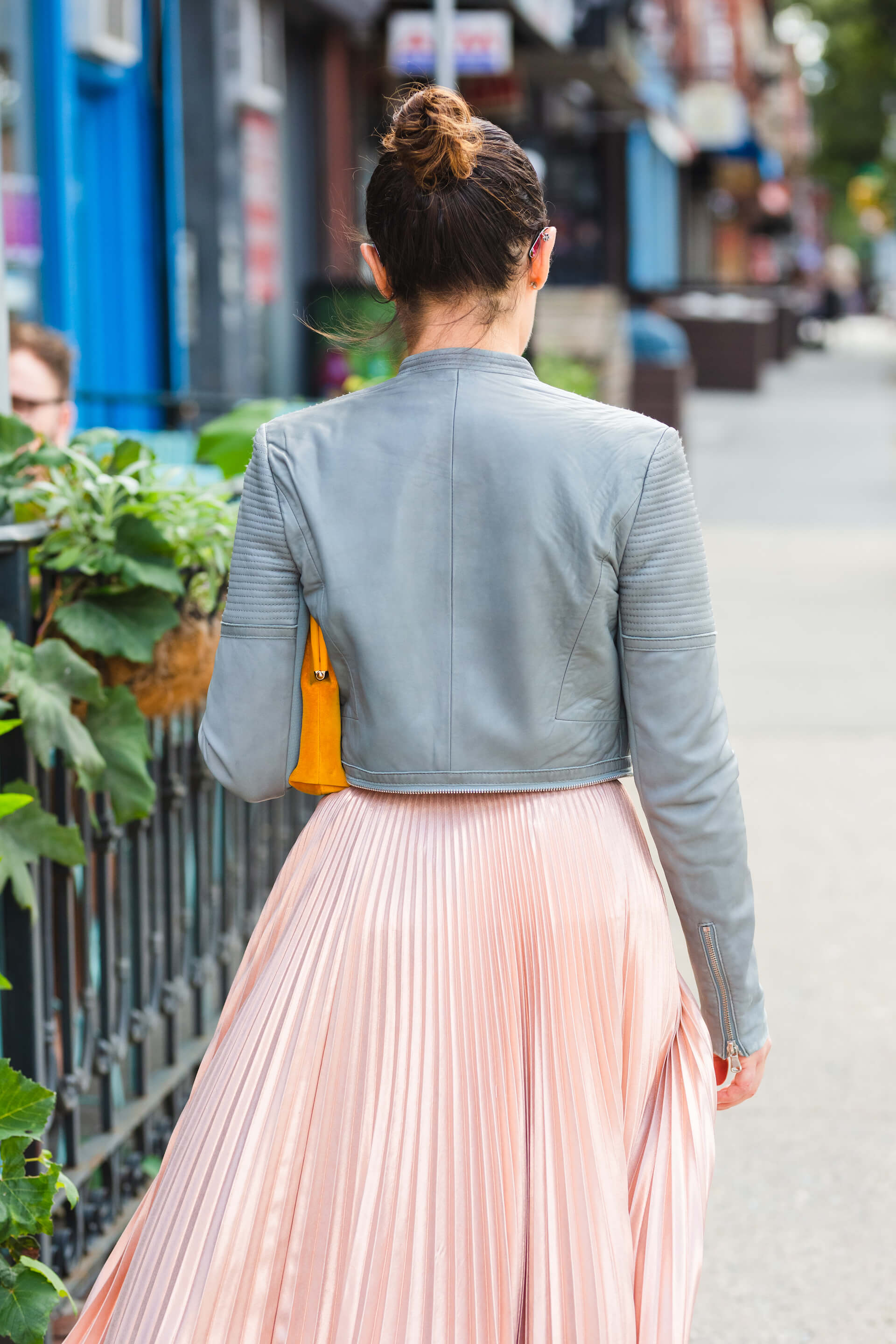 ALC Pleated Skirt Rebecca Taylor Leather Jacket Look by Modnitsa Styling