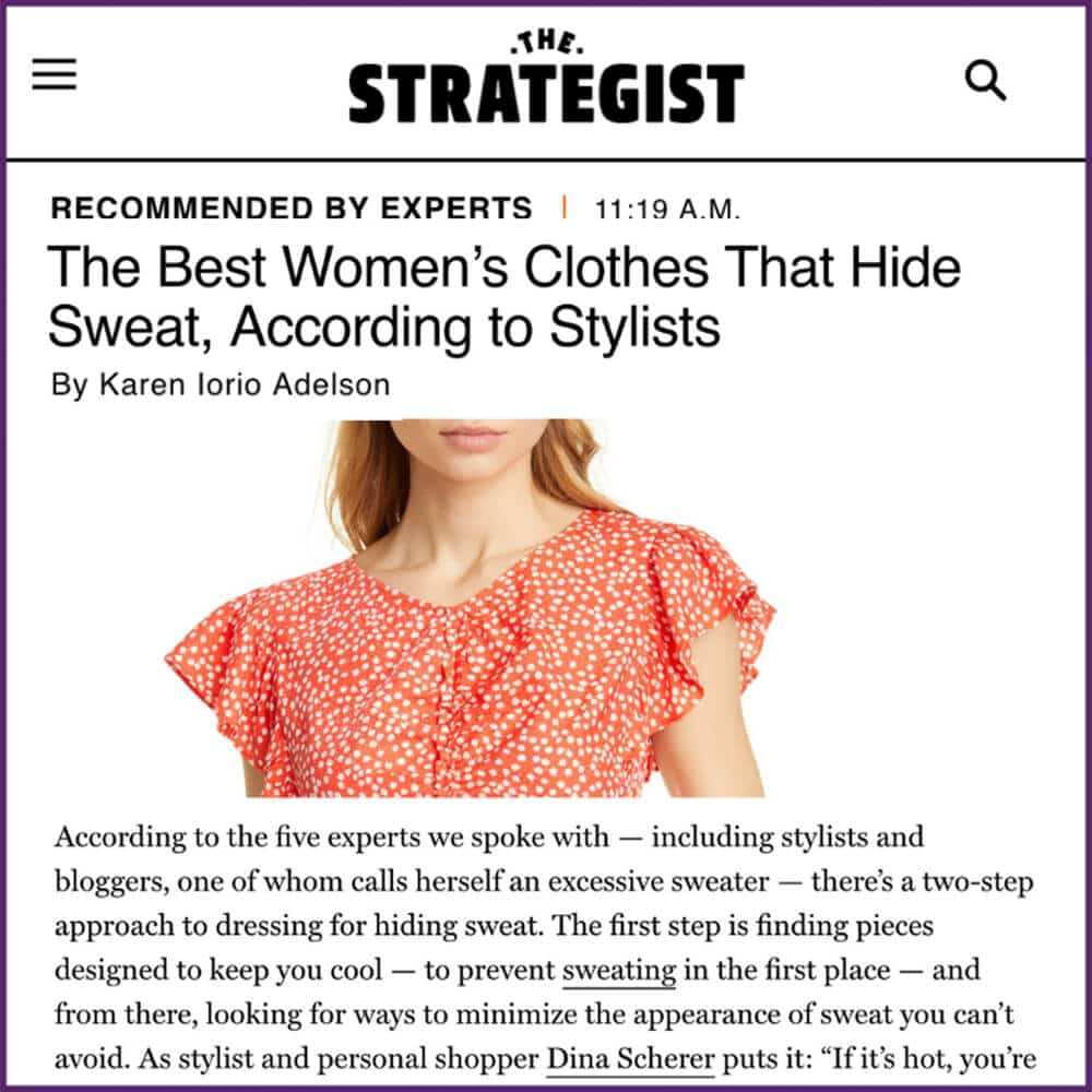 NY Magazine The Strategist Article Best Women's Clothes to Hide Sweat August 26 2019