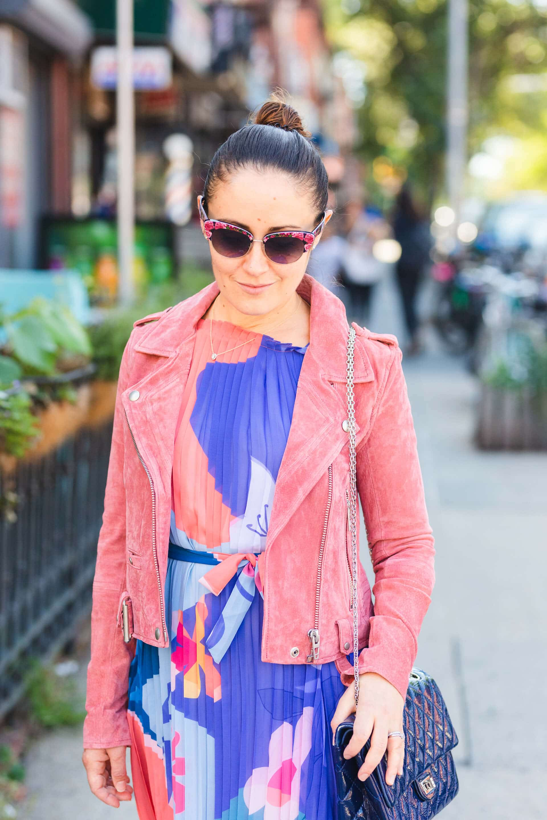Pleated Dress with Rose Suede Moto Jacket and Pink Ballerina Flats Look by Modnitsa Styling