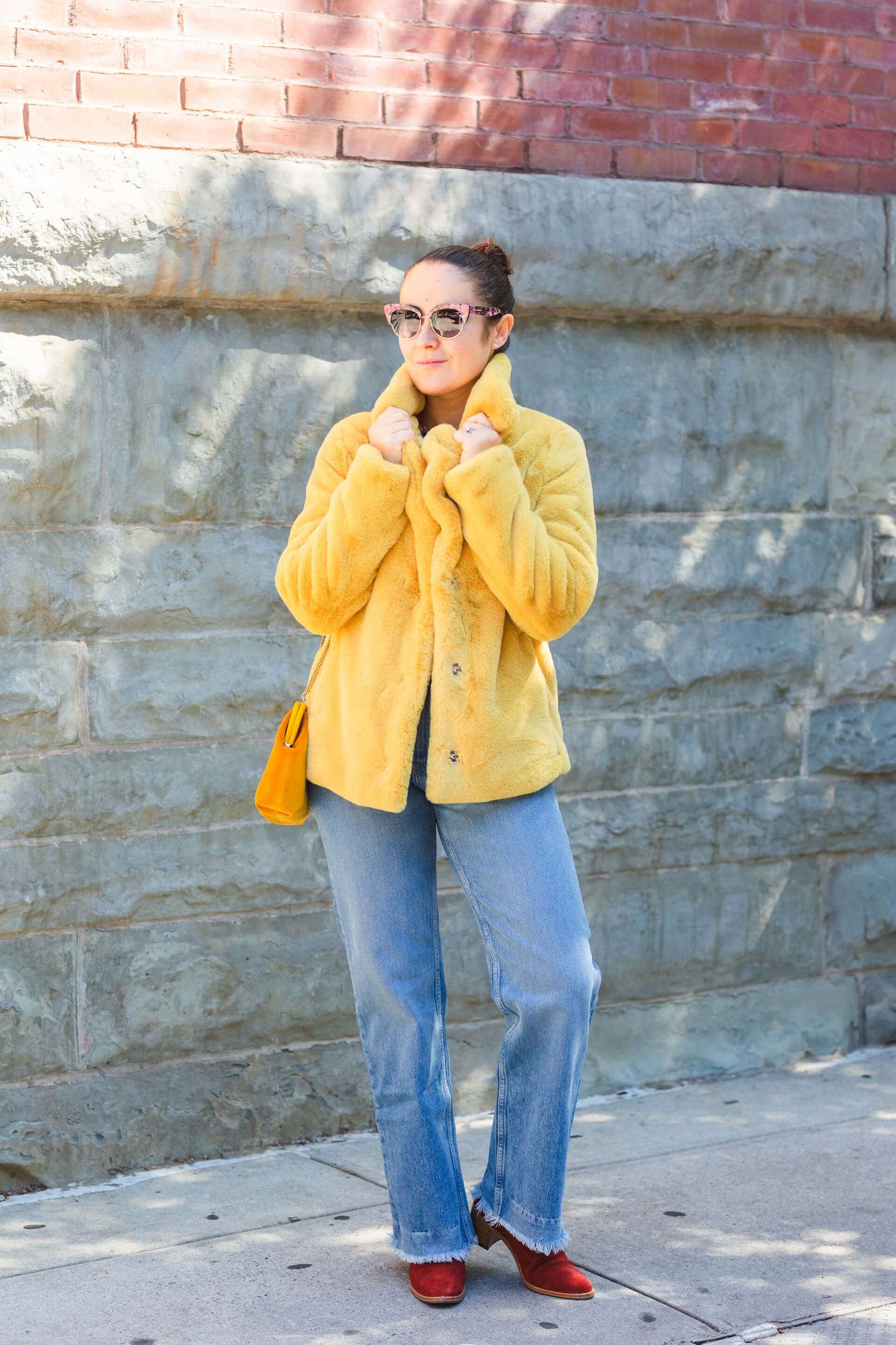 Rebecca Taylor Blouse Yellow Faux Fur Coat Rag & Bone Jeans Look by Modnitsa Styling