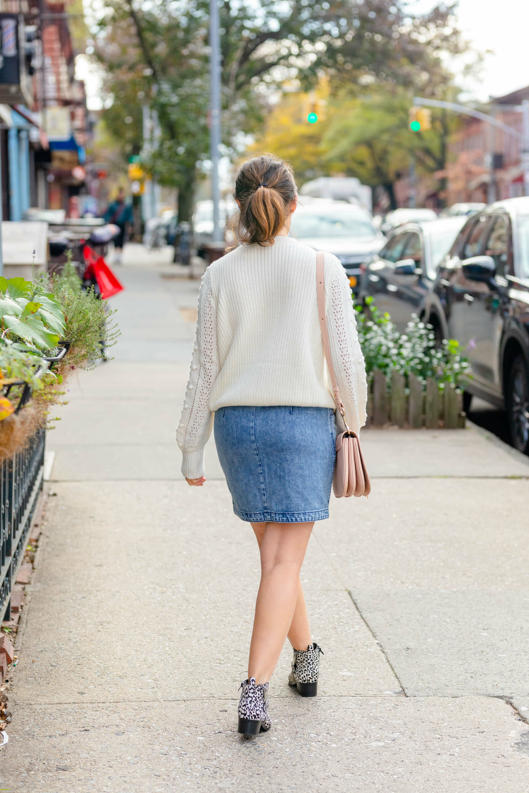 Sezane Sweater La Vie Denim Skirt Marc Fisher Booties Look by Modnitsa Styling