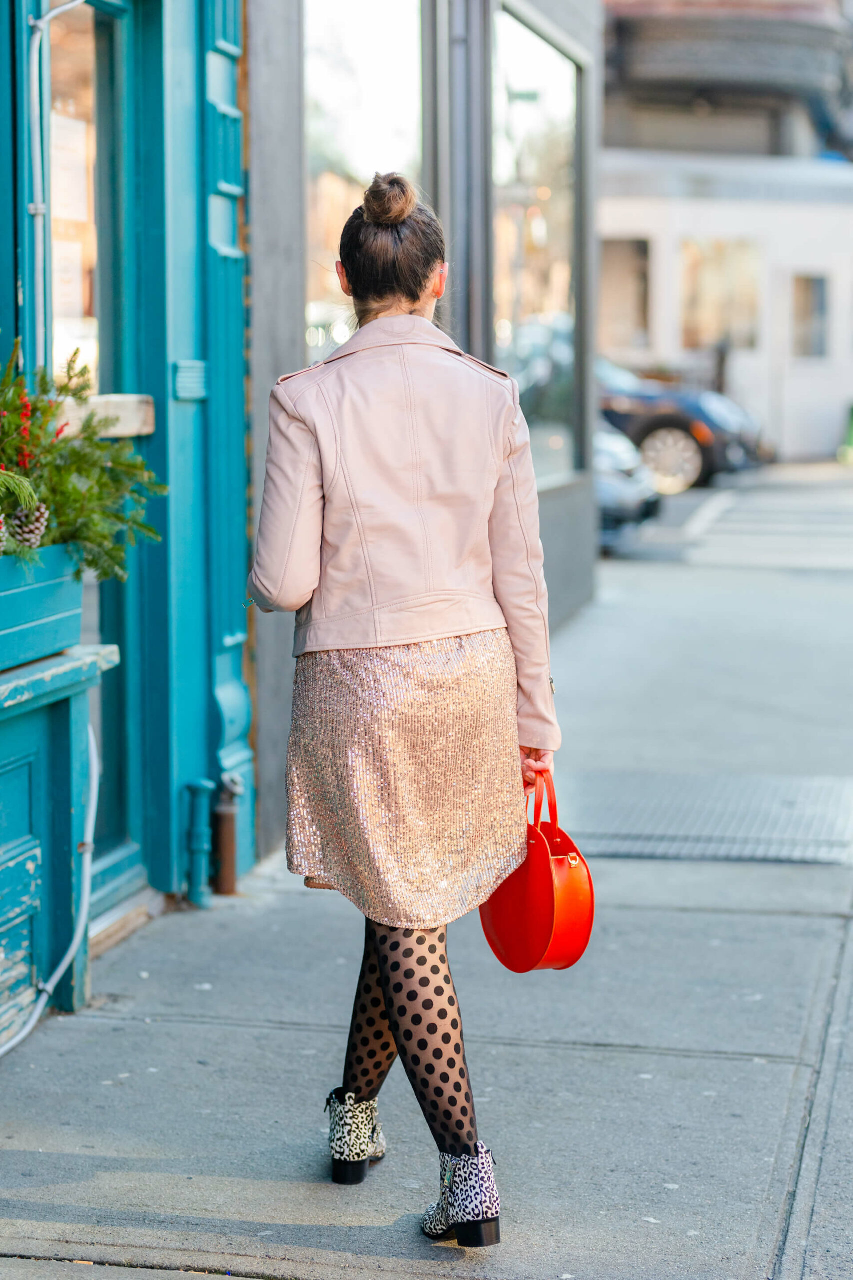 Anthro Sparkly Dress Lamarque Leather Jacket Mark Fisher Booties NYE Look by Modnitsa Styling