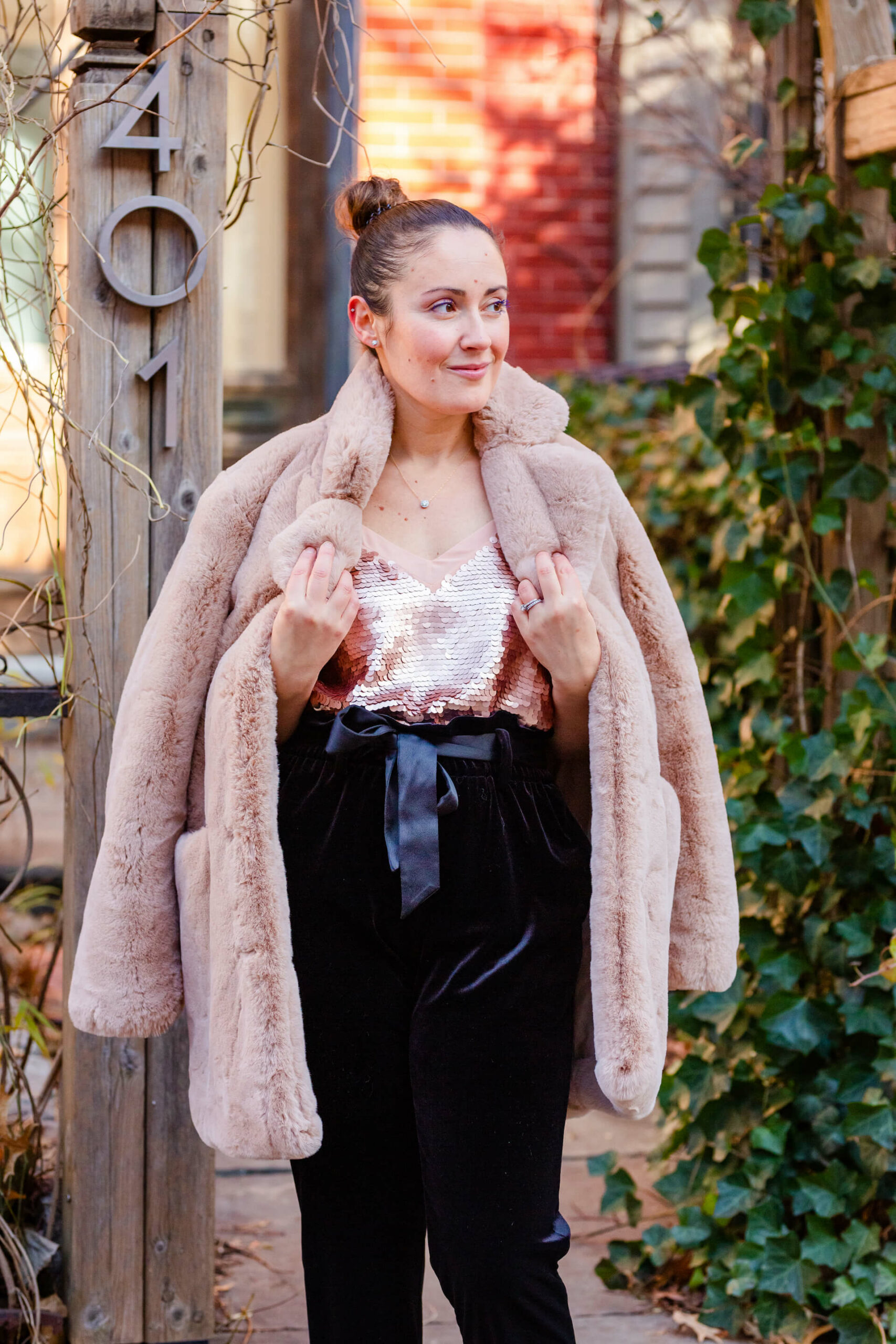 Holiday Party Look Apparis Faux Fur Halogen Paperbag Waist Pants Margaux x Gal Meets Glam Shoes by Modnitsa Styling