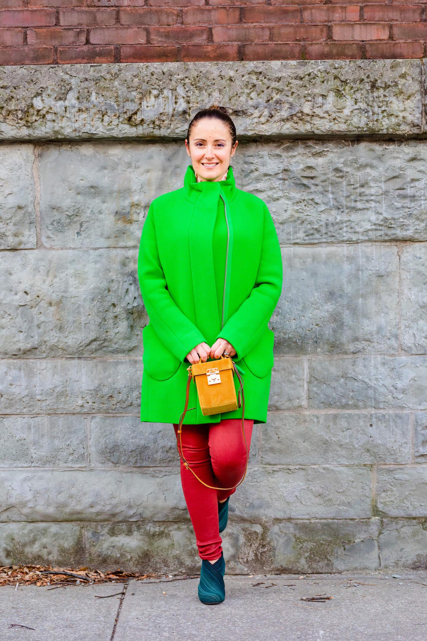 JCrew Coat Frame Leather Pants Sezane Blouse Mark Cross Bag Look by Modnitsa Styling