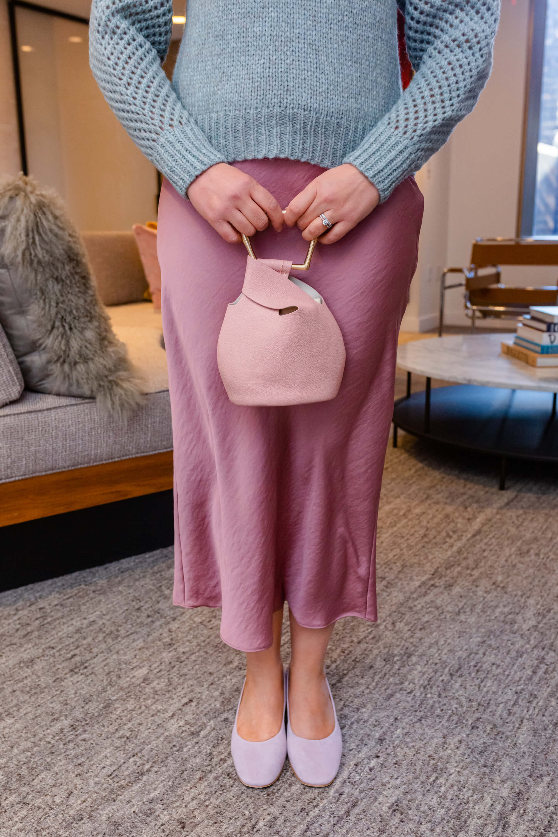 Pretty Winter Pastels Look Loveshack Fancy Sweater Free People Skirt Coclico Shoes by Modnitsa Styling
