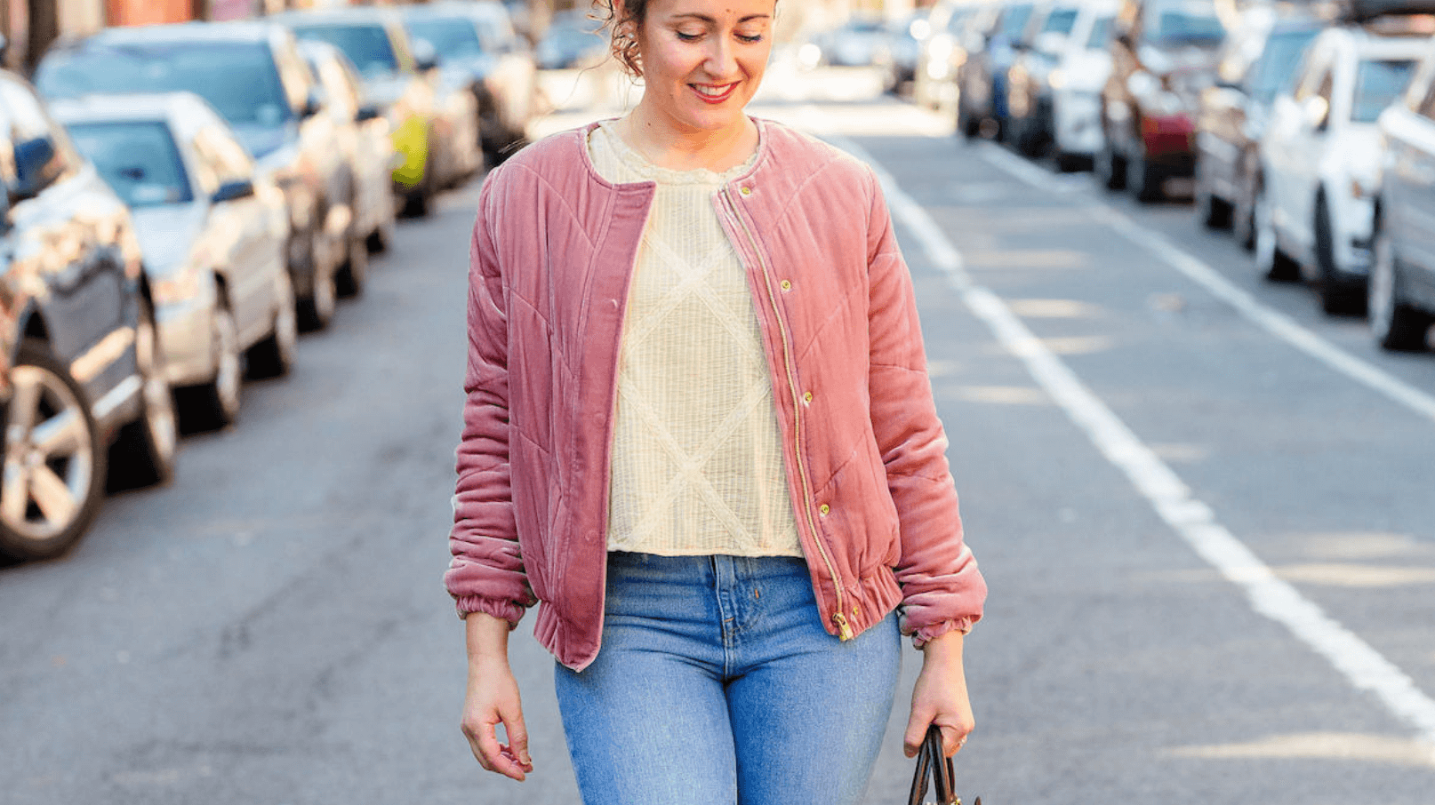 Sezane Bomber Jacket LoveshackFancy Top Madewell Jeans Coclico Booties Look. by Modnitsa Styling