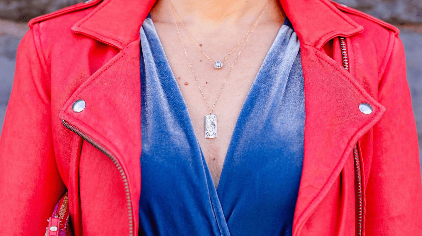 IRO Leather Jacket Misa Dress Coclico Booties Sofia Zakia Necklace Look by Modnitsa Styling