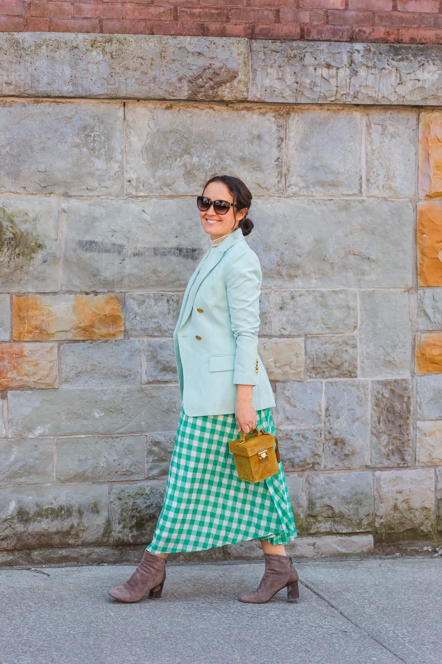 ALC Blazer Rachel Parcell Top Target Skirt Mark Cross Bag Coclico Booties Outfit by Modnitsa Styling