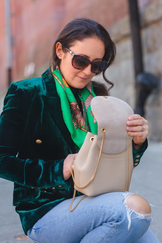L'Agence Blazer Rachel Parcell Top Hermes Scarf ReDone Jeans Polene Bag Look by Modnitsa Styling