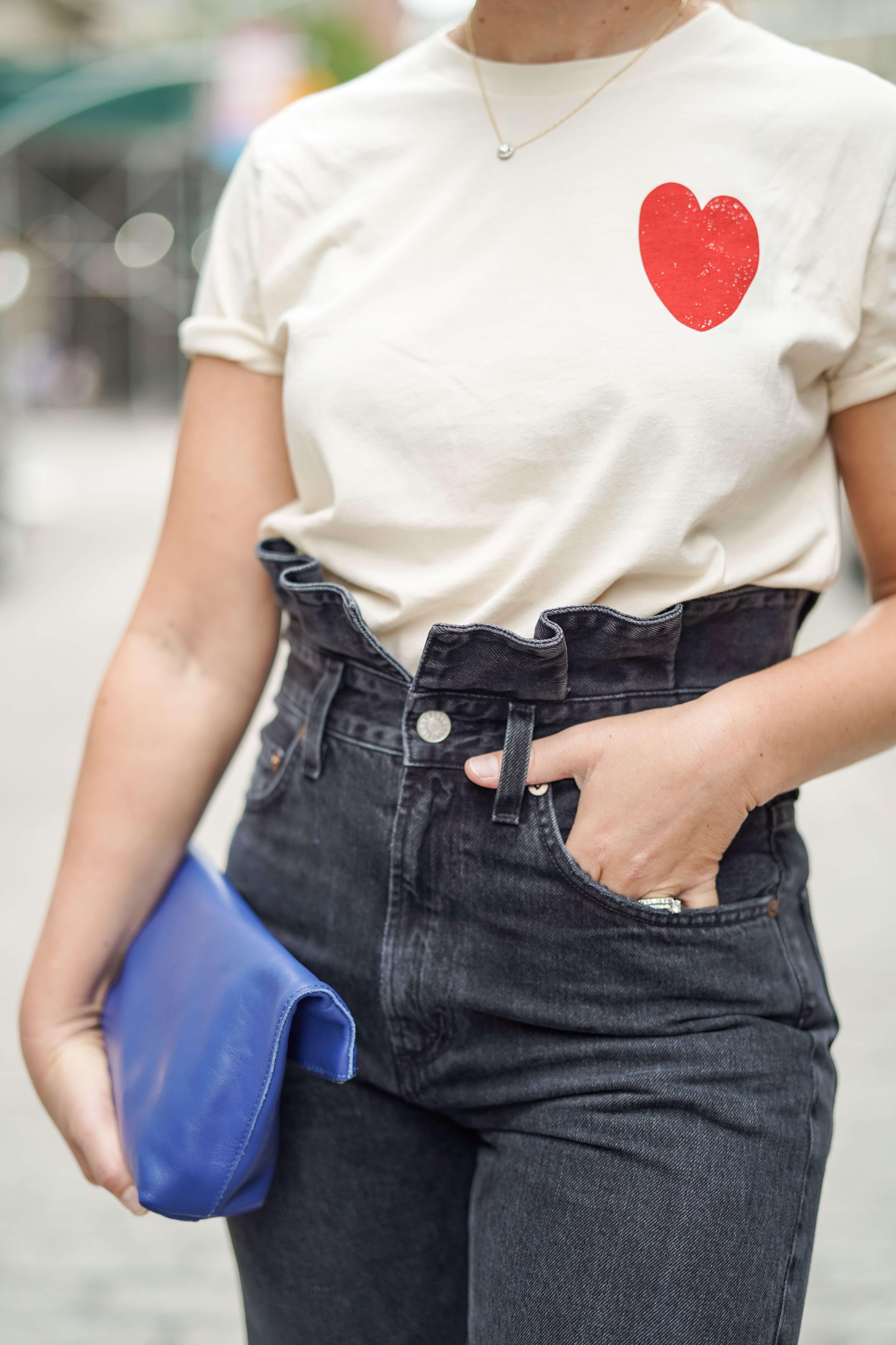 Agolde Jeans Sezane Tee Cuyana Bag Inez Shoes Look by Modnitsa Styling