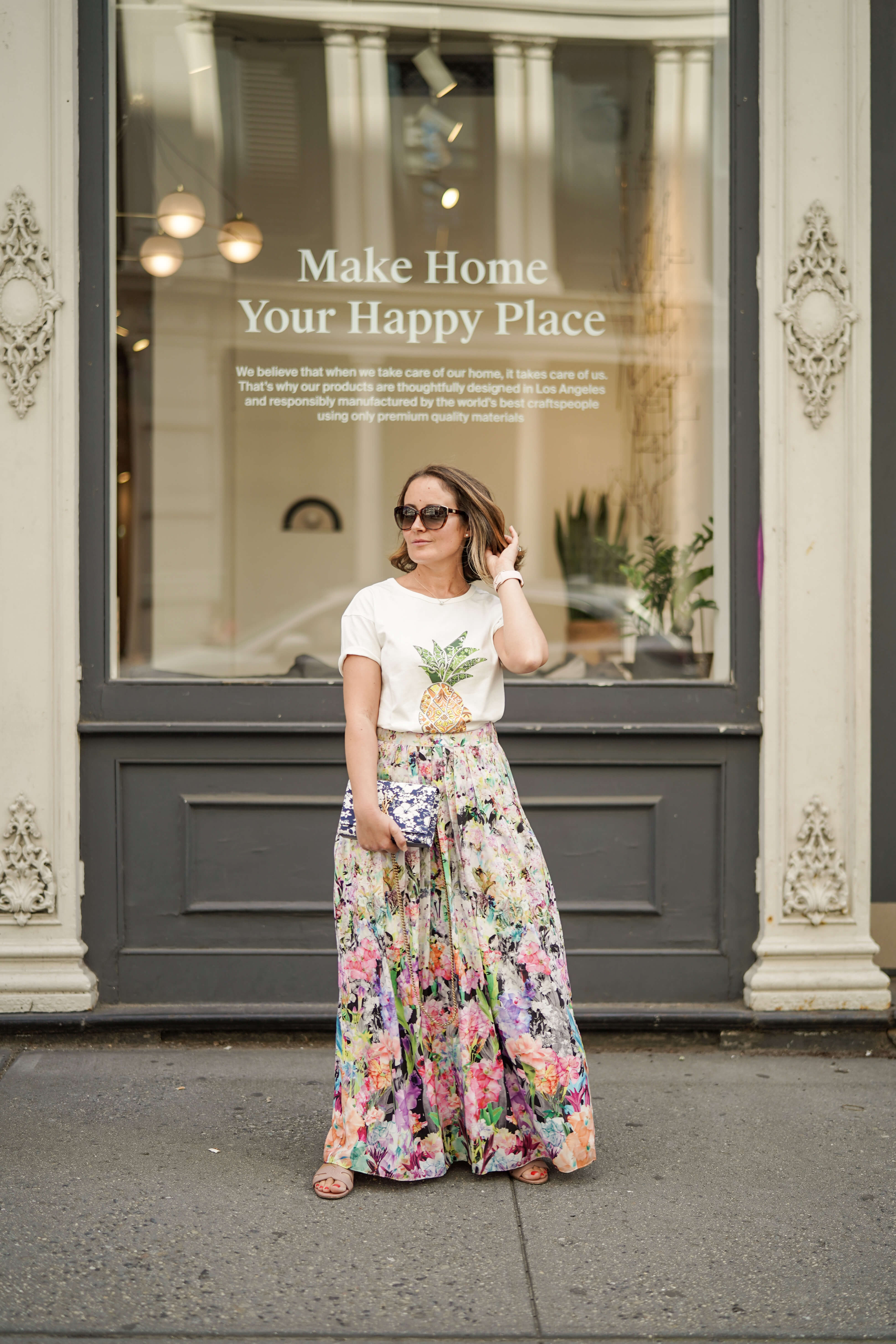 Anthropologie Skirt Farm Rio Top Coclico Shoes YSL Bag Outfit by Modnitsa Styling