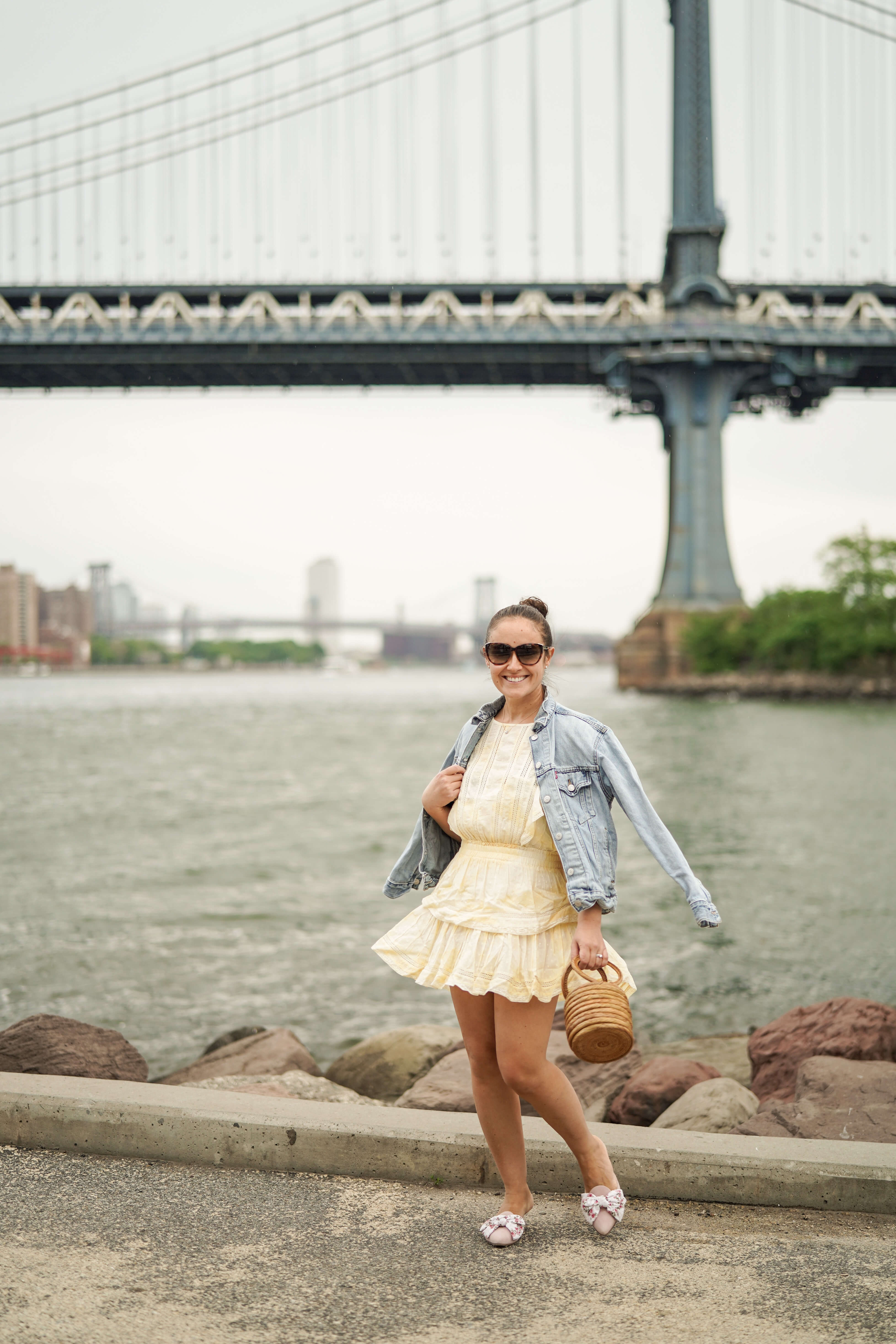 Loveshackfancy Yellow Dress Levis Jacket Margaux Shoes Cult Gaia Bag Outfit by Modnitsa Styling