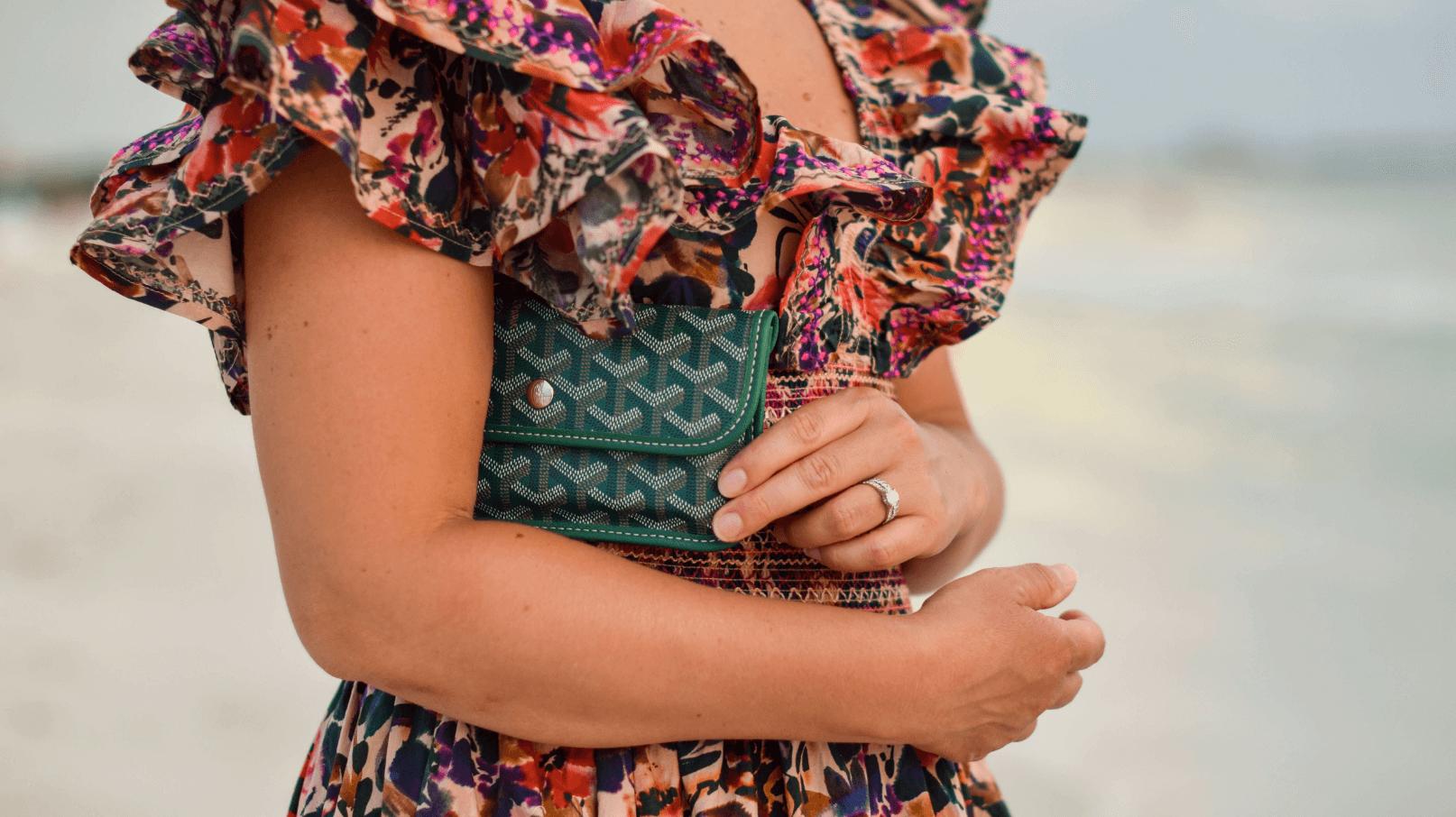 Something Navy Dress Goyard Wallet Look by Modnitsa Styling