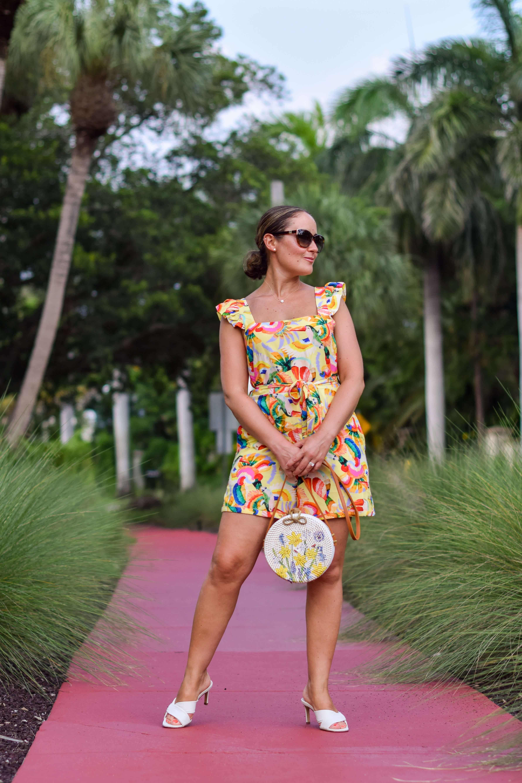 Farm Rio Romper Inez Shoes Anthro Bag Look by Modnitsa Styling