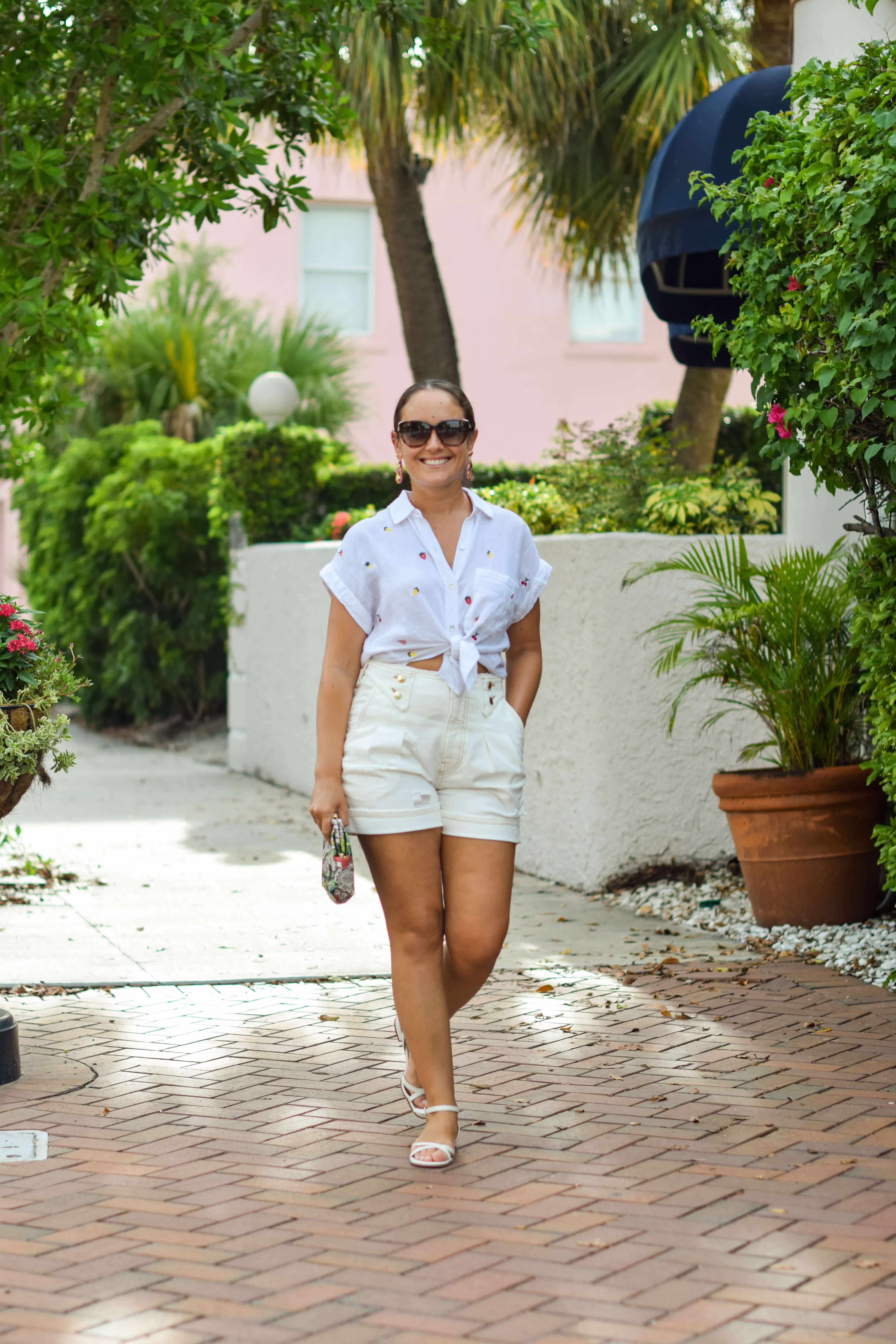 Rails Shirt Retrofete Shorts Margaux Shoes Clare V Bag Outfit by Modnitsa Styling