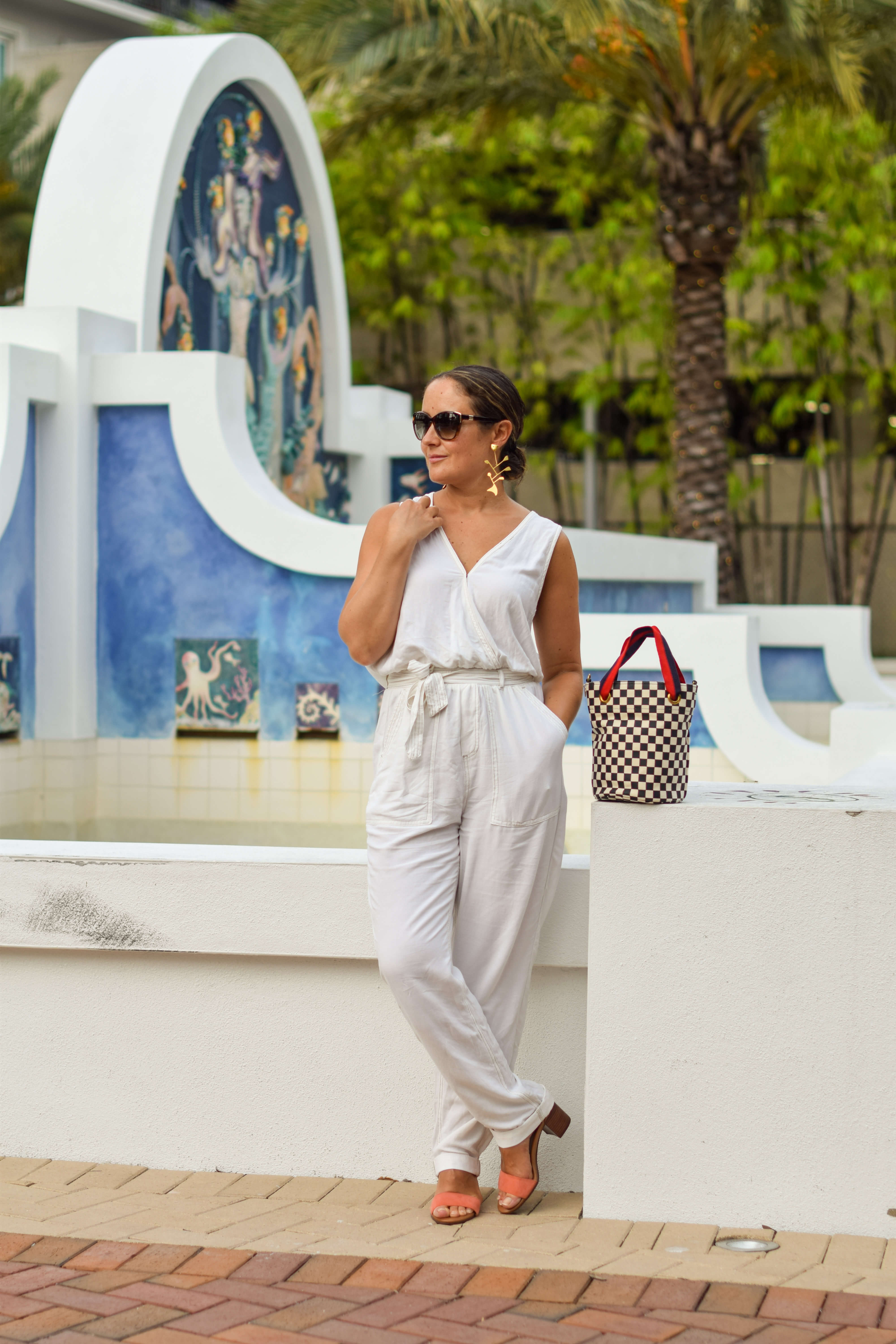 Splendid Jumpsuit Vionic Shoes Tory Burch Earrings Clare V Bag Outfit by Modnitsa Styling