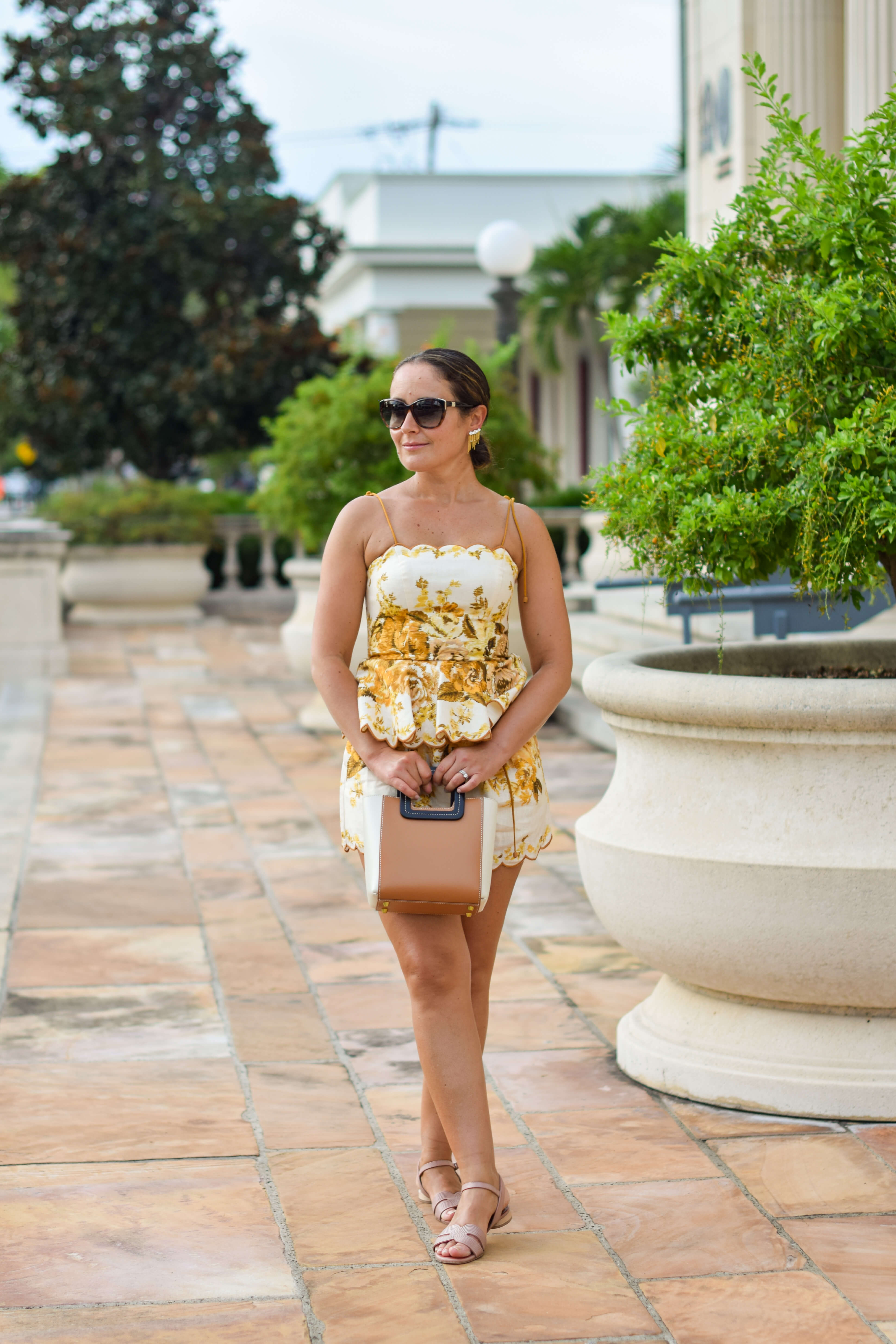 Zimmermann Top and Shorts Coclico Shoes Staud Bag Outfit by Modnitsa Styling