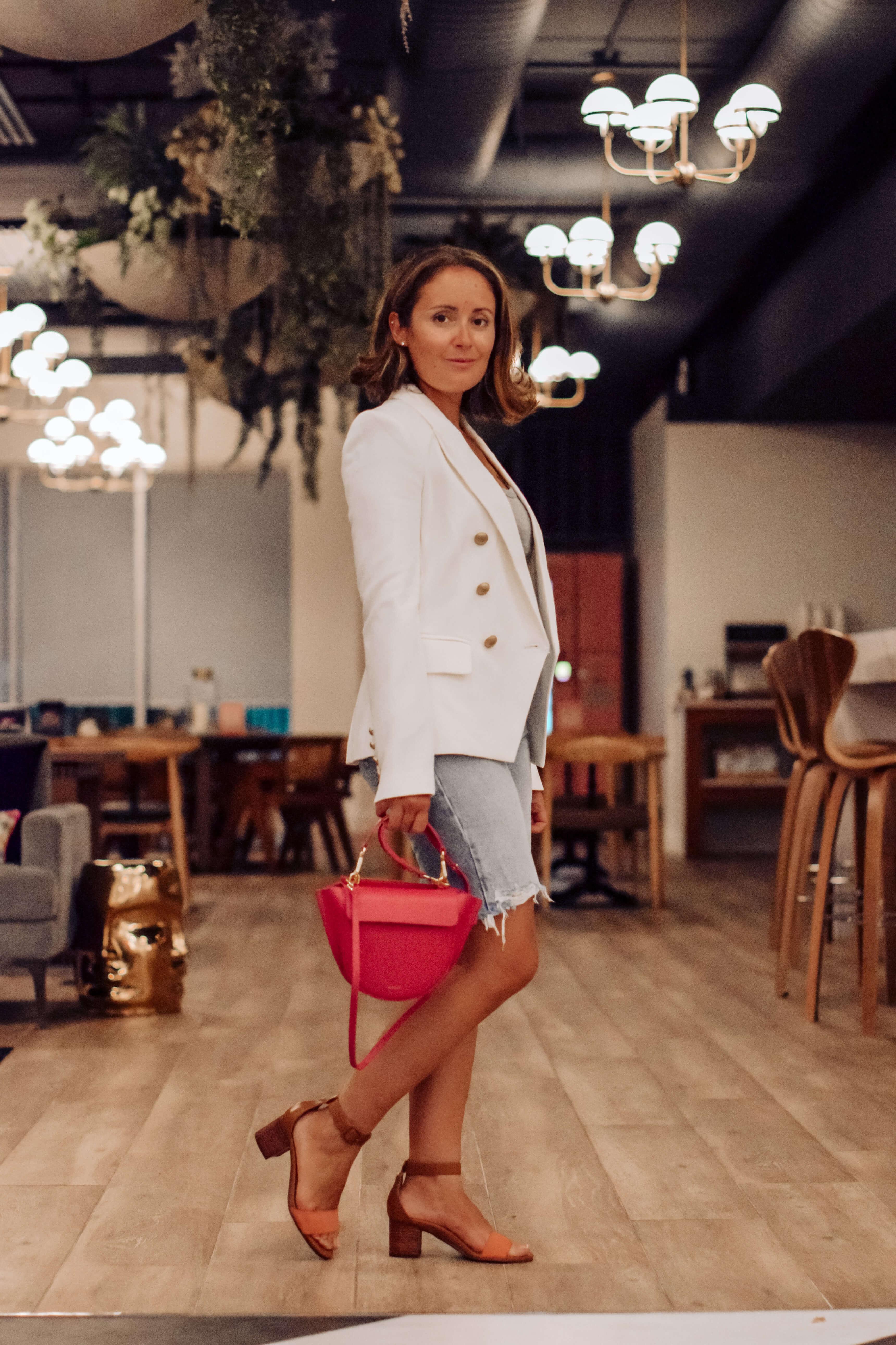 AGolde Jean Shorts L'Agence White Blazer Rag & Bone Tee Wandler Bag Outfit by Modnitsa Styling