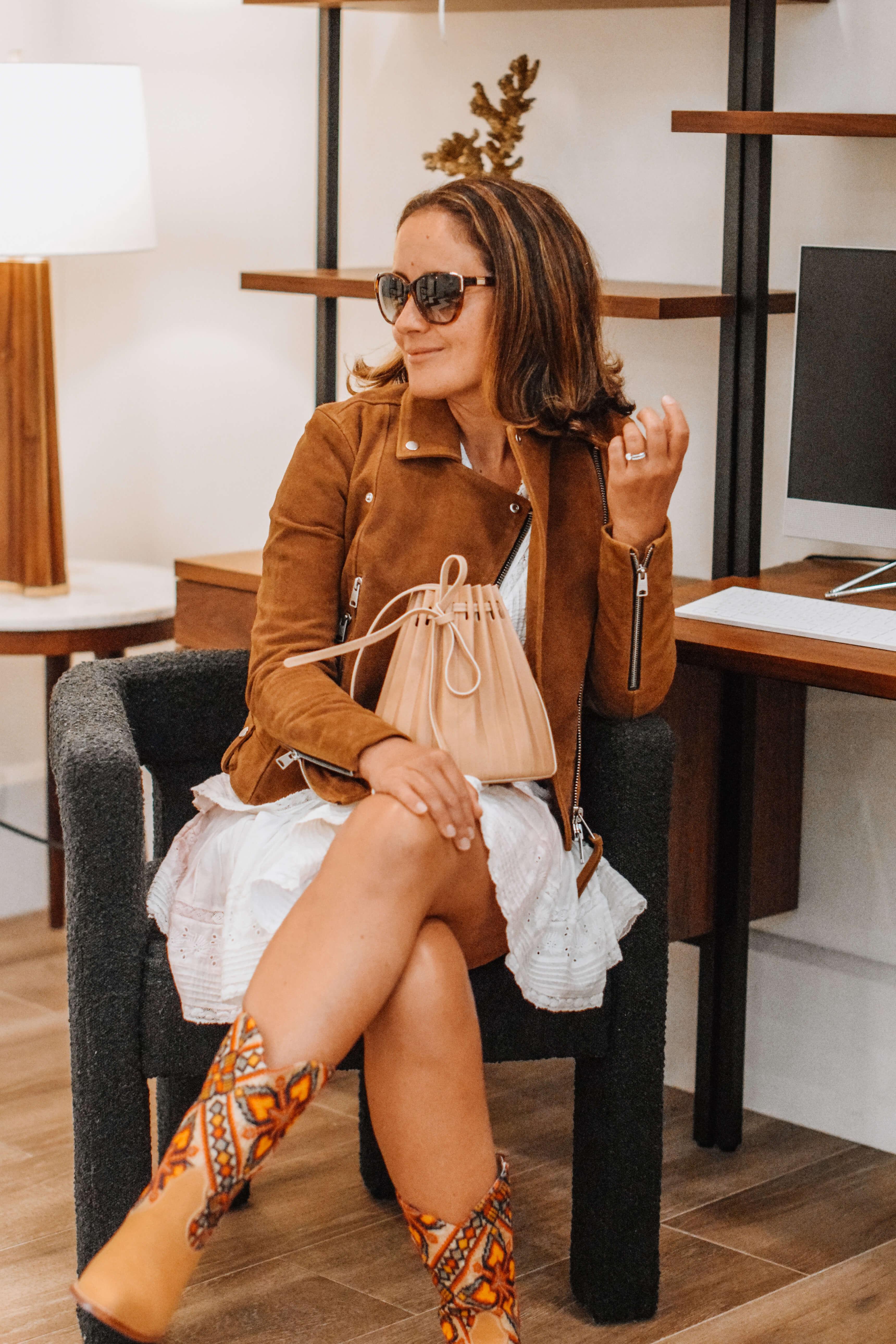 Loveshack Fancy Dress AllSaints Jacket Momo Design Anthro Boots Outfit by Modnitsa Styling