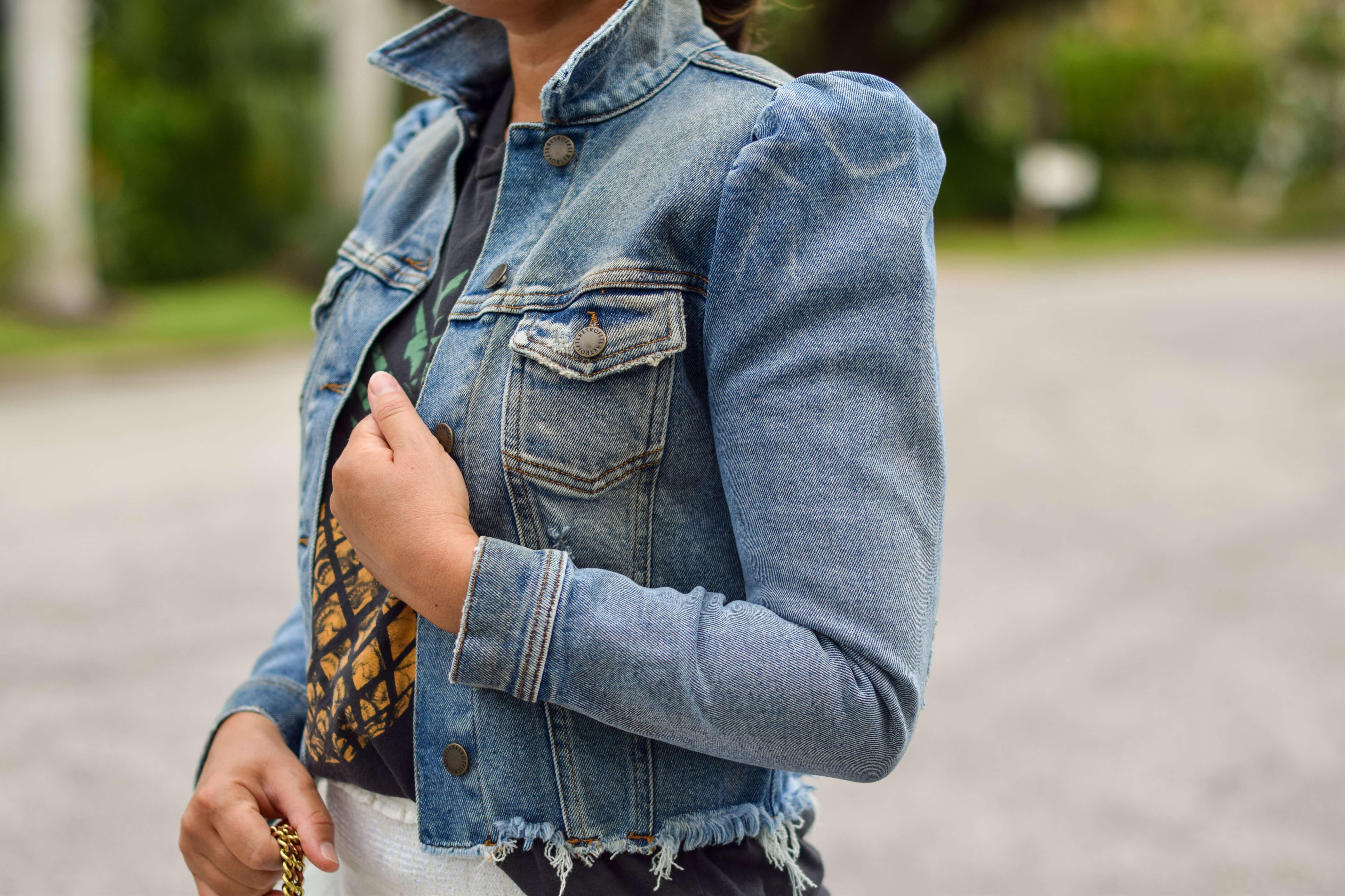 Loveshackfancy Skirt Italeau Booties Retrofete Jacket Anthro Tee Outfit by Modnitsa Styling
