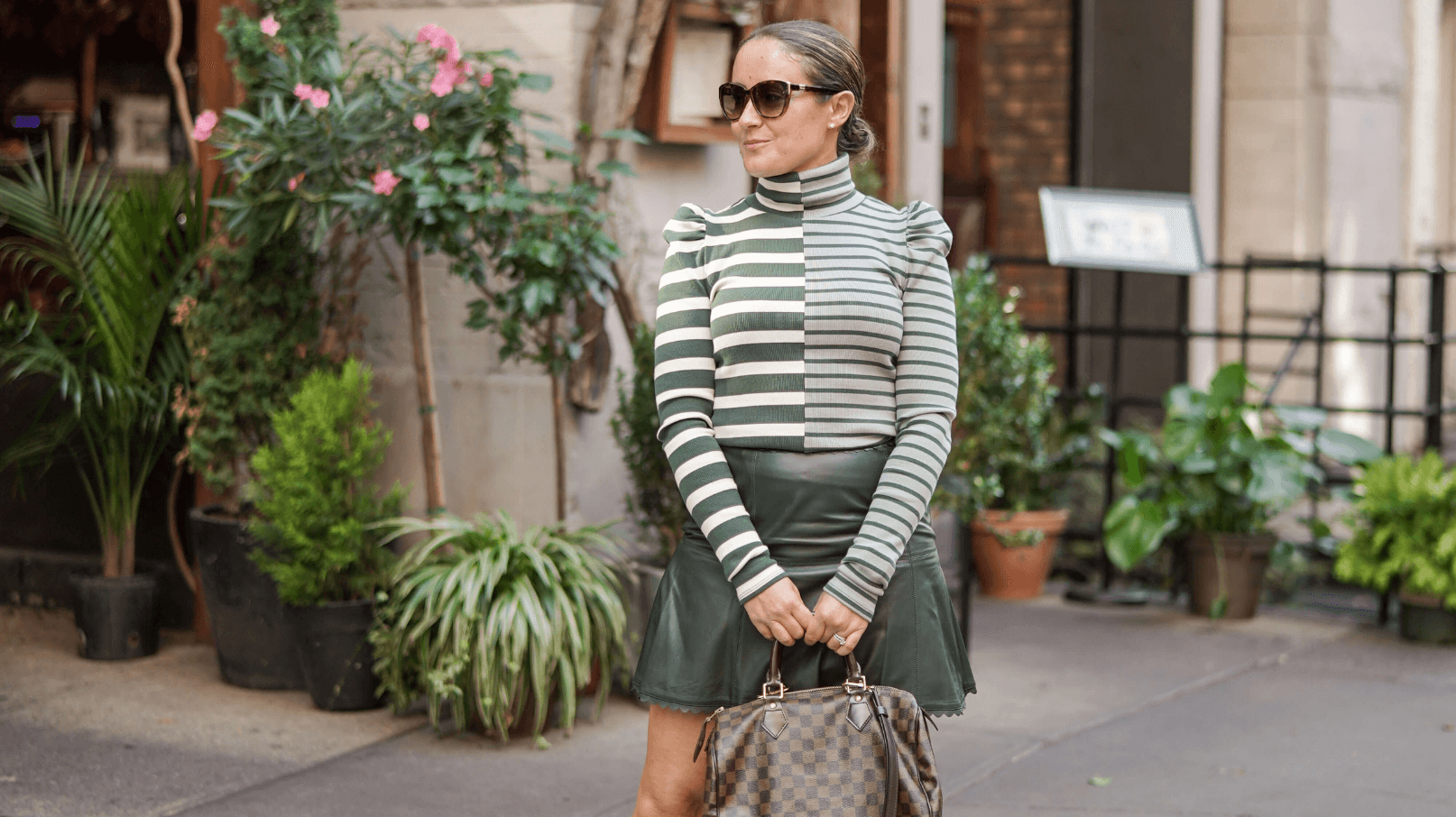 Veronica Beard Sweater Anthro Skirt Coclico Booties LV Bag Outfit by Modnitsa Styling