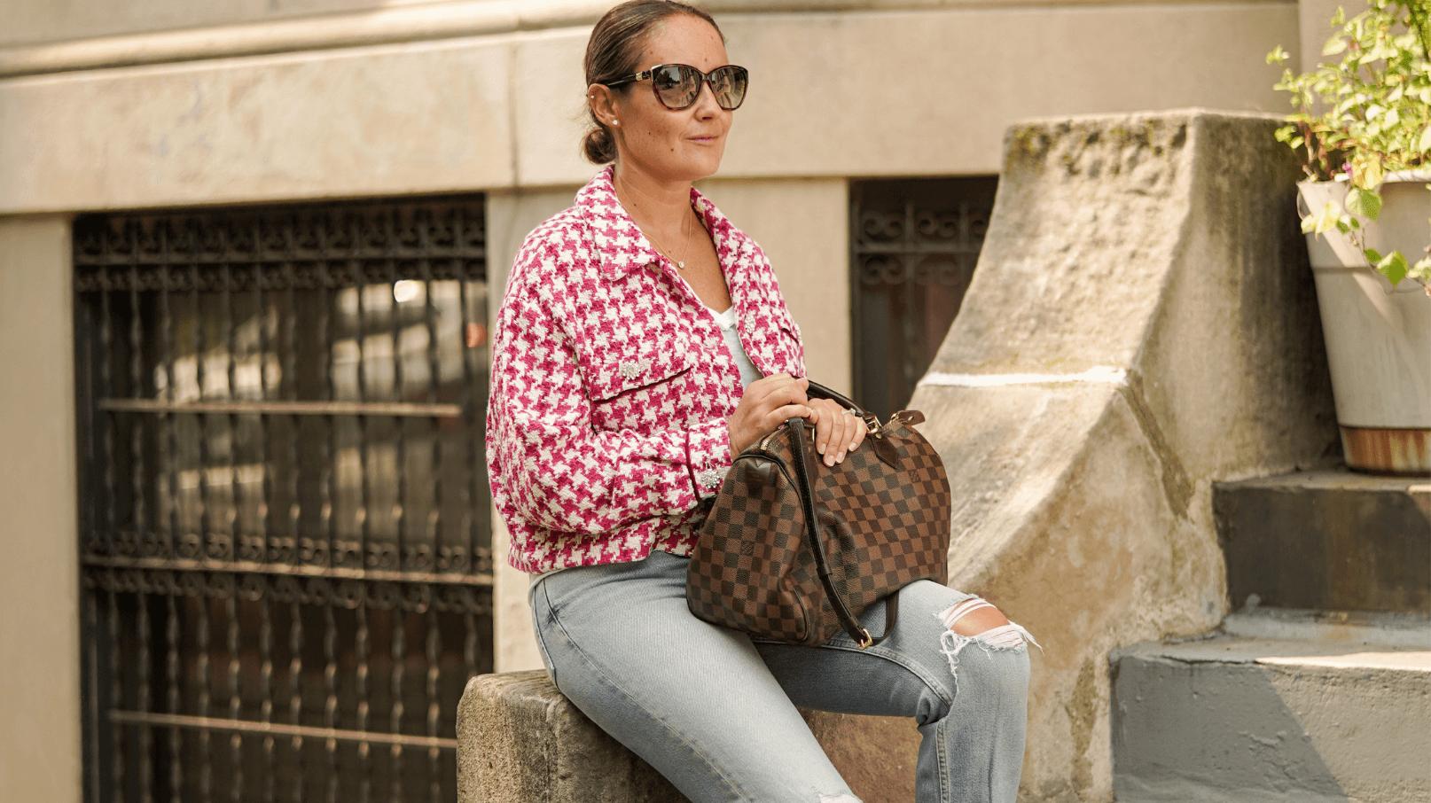 Zara Jacket ReDone Jeans Free People Tee Vivaia Shoes LV Bag Look