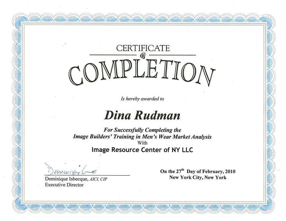 Image Resource Center (IRC), Certification in Menswear Market Analysis