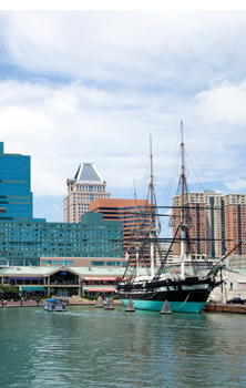 View of Baltimore Harbor with Sailing Ship