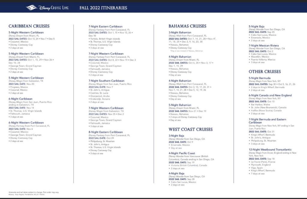 Disney Cruise Line Fall 2022 Itineraries