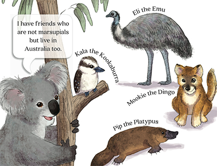 slide 2  The Down Under Salad Bowl, by Bonnie Lady Lee. [Excerpt] I have friends who are not marsupials but live in Australia too. Eli the Emu. Kala the Kookaburra. Mookie the Dingo. Pip the Platypus.