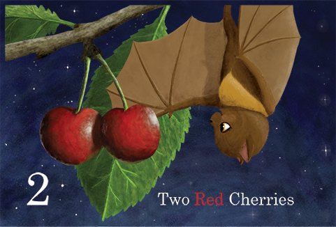 slide 3 Educational Children's Stories - Bonita the Fruit Bat Counts to Ten, by Bonnie Lady Lee. [Excerpt] Two red cherries.
