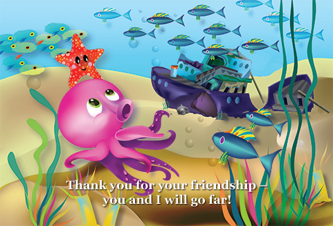 slide 5 Beginning Readers - Oliver the Octopus, by Bonnie Lady Lee. [Excerpt] Thank you for your friendship - you and I will go far.