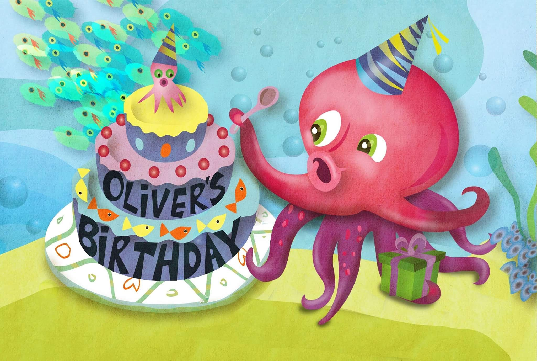 slide 1 Oliver's Birthday, by Bonnie Lady Lee. Let's celebrate Oliver's Birthday! Ollie and friends have fun discovering the names of basic shapes! Board Book. Ages Baby to 3.