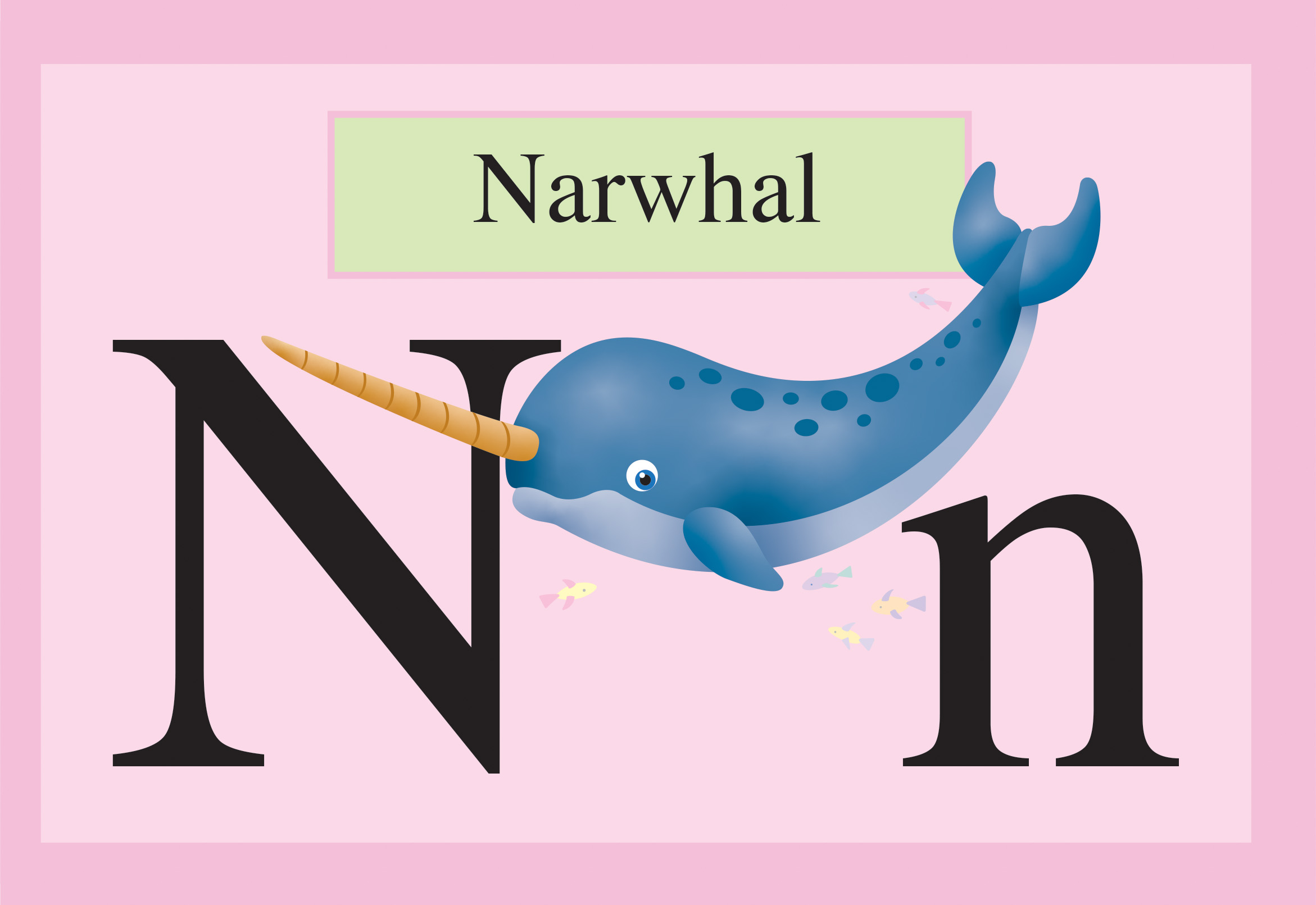 slide 4 Educational Childrens Stories - ANIMALBET! A to Z, by Bonnie Lady Lee and Peter Zafris. [Excerpt] N is for narwhal.