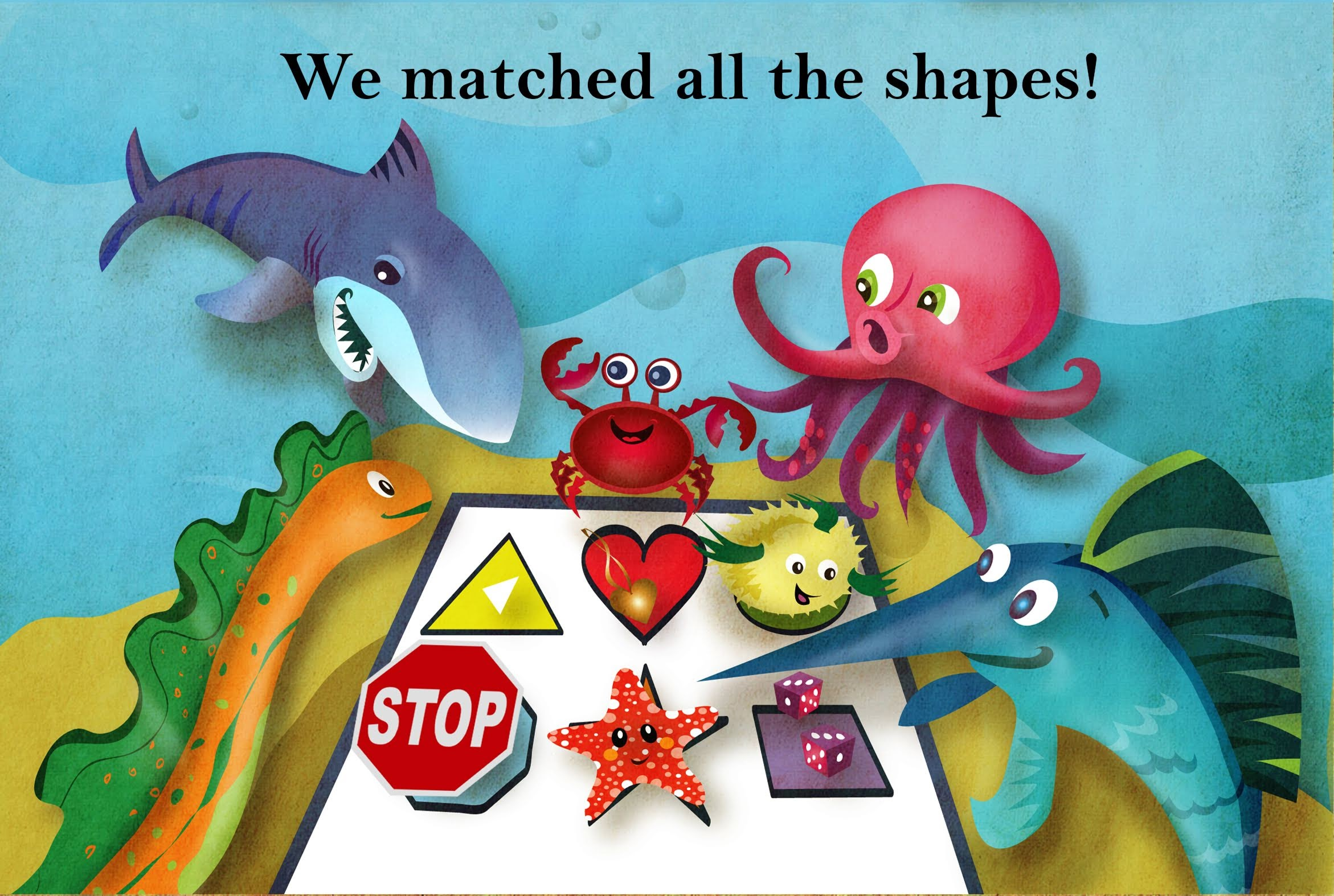 slide 5 Educational Childrens Stories - Oliver's Birthday, by Bonnie Lady Lee. [Excerpt] We matched all the shapes.