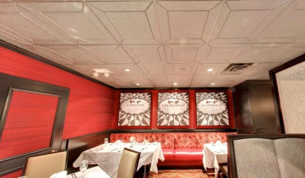 Details Acoustical Tiles in Custom color Gold. Application: Steak House. Designer: Beth Donner Design