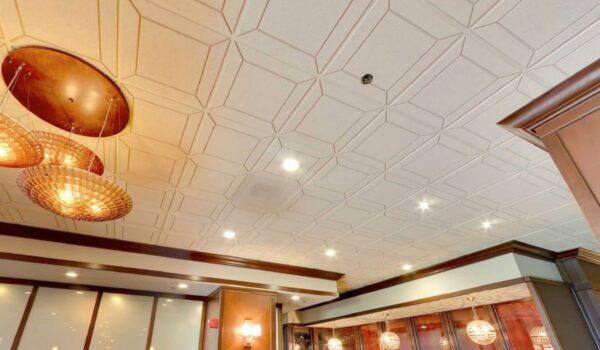 Details Acoustical Tiles in Custom color. Application: Steak House. Designer: Beth Donner Design