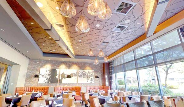 Details Acoustical Tiles in Custom color Copper. Application: Steak House.